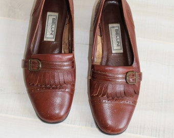 Vintage Oxfords, Perforated, Buckle, Tassel, Penny Loafers, Brown, Leather, 7