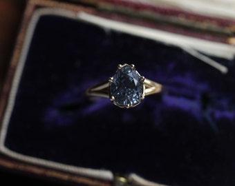 Spinel Engagement Ring, Marie Antoinette Jewelry, Blue Diamond Engagement Ring, Solitaire Engagement Ring, Antique Engagement Ring.