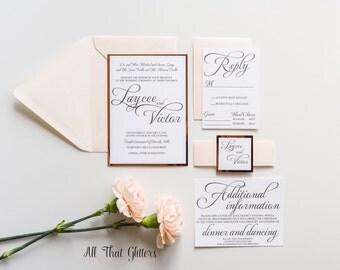 Blush and rose gold Wedding Invitation, Mirrored Wedding Invitations, foil wedding invitations, Mirror wedding invitations suite, Laycee