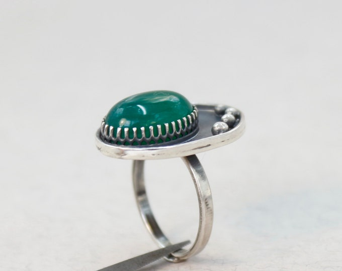Green Onyx Ring , Onyx Ring Silver , Green Rings , Cocktail Rings , Size 5.5 , Green Stone Rings , Silver 925 , Silver Rings , Onyx Jewelry
