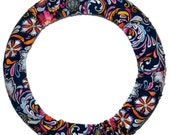 Navy Floral Steering Wheel Cover-Wheel Cover-Car Accessories-Floral Car Accessory-Gift for Her