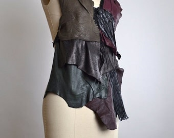 SUMMER SALE Goth Leather Top - Leather Festival Top - Festival Clothing - Halter Tops - Burning Man Clothing - Black Leather Halter Top
