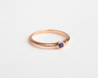 Blue Sapphire Engagement Ring, Small Saphire Ring, 18k Rose Gold Sapphire Ring, Stacking Ring 14k Rose Gold Band Ring, Thin Sapphire