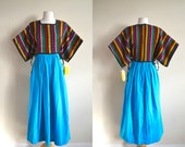 Vintage Guatemalan Woven Maxi Dress, Bohemian Ethnic Festival Dress, Deadstock NOS, Turquoise, Bueno Flamboyan