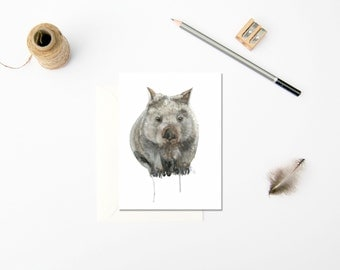 Wombat Card, Wombat Gift Card, Australian Greeting Card, Australian Animal Greeting Card