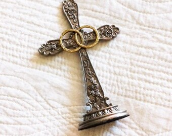 Vintage Religious Floral Rose Cross with Wedding Band Detailing, Olives and Doves