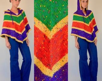 Vintage 70s Crayola Crayon COLOR BLOCK Rainbow Hand-Knit draped mini Poncho Sweater. boho hood Jacket Hippie Cape Outerwear. Small - Medium