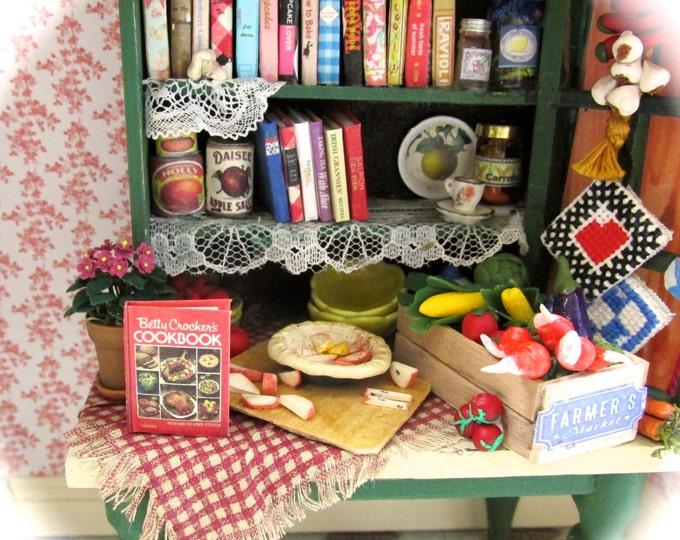 BETTY CROCKER'S COOKBOOK Miniature Book Dollhouse 1:12 Scale Book Opens Readable