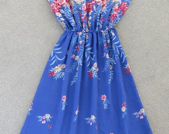 Retro 70's 80s Vintage Blue Floral Dress / Retro Print / Small Medium