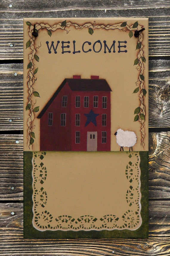Primitive Decor Saltbox House & Sheep -- Hand Painted Welcome Sign w/ Family Name Personalizing