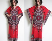 60s 70s Dashiki Angel Sleeve Dress - Boho Hippie Dress - Bell Sleeve - Psychedelic Mandala - Dashiki Tunic Dress - Cotton Dashiki Maxi
