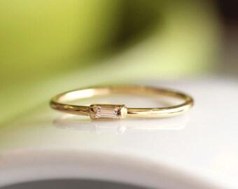 14K Solid Gold Baguette Diamond Engagement Ring,Simple Diamond Engagement Ring,Gold Dainty Stacking Ring
