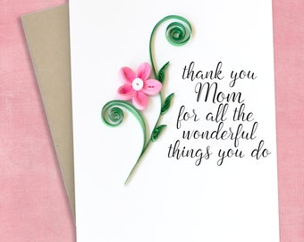 Mothers Day Card - Card For Mom - Mom birthday card - Thank you mom card