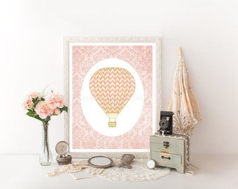 Nursery Art Print, Hot Air Balloon Nursery, Hot Air Balloon Printable Decoration, Hot Air Balloon Decor, Hot Air Balloon Printable 0023
