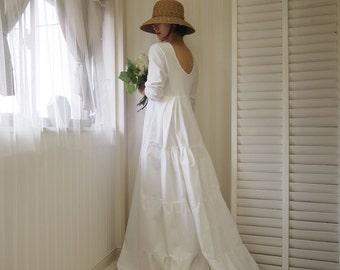 Long Sleeve Wedding Dresscotton Dresswhite Maxi Dresssimple Dress