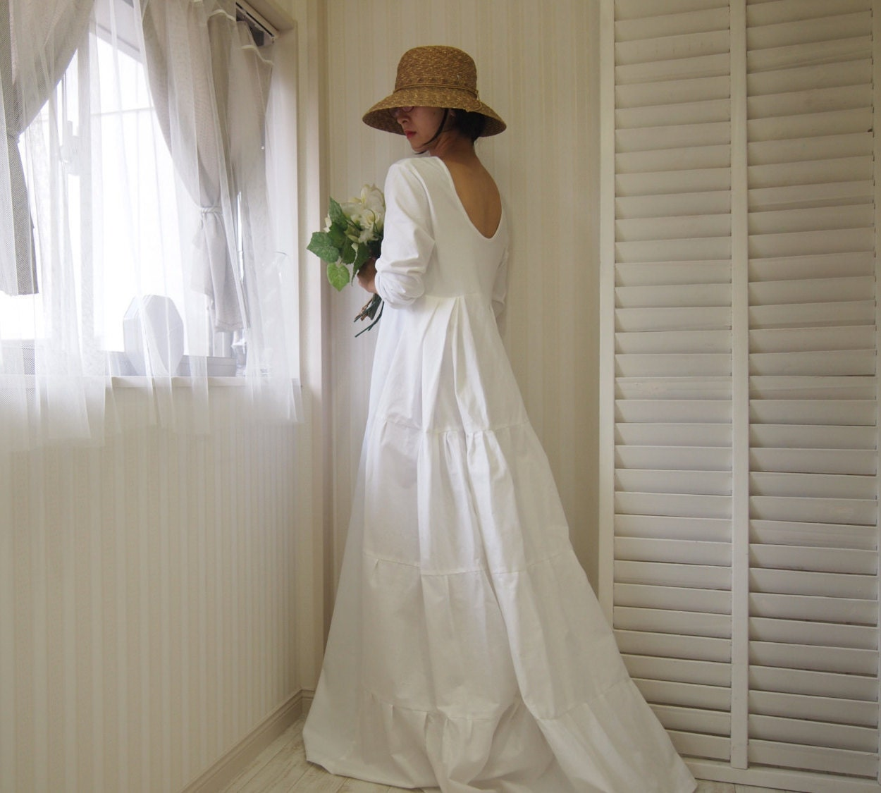 Long sleeve wedding dresscotton wedding dresswhite maxi for Simple cotton wedding dress