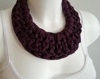 Bib necklace, crochet necklace, fabric necklace