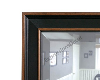 Custom Country Black & Brown Wood Wall Mirror - Beveled Glass - FREE SHIPPING