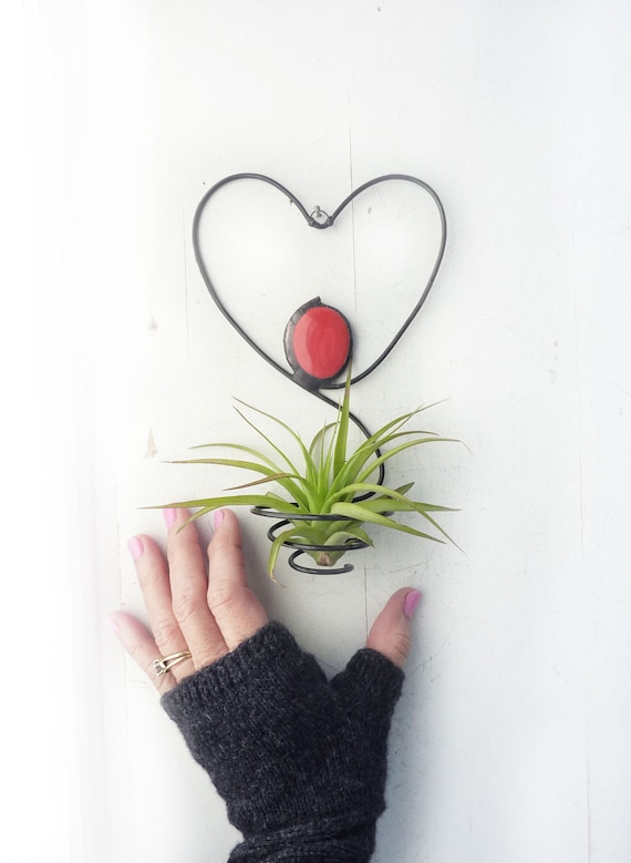Air Plant Holder Heart Wire Hanging With Red Glass Bead