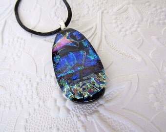 Silver, Blue, and Pink Fused Dichroic Glass Pendant - Dichroic Necklace - Fused Jewelry - 87-13