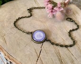 Sahasrara Chakra Bracelet, Antique Bronze Bracelet, Glass Cabochon, Chain Bracelet