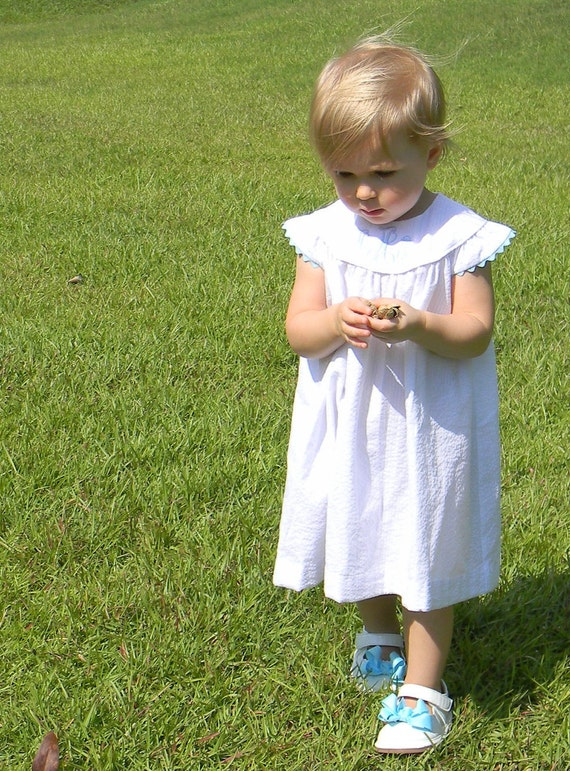 Girls White Seersucker Dress with Angel Sleeve, Choose Rick Rack Trim color, Perfect for Family Beach Photos