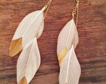 Gold-Dipped White Feather Dangle Earrings