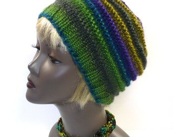 Green Striped Beanie - Green Blue and Purple Hand Knit Hat, Woman's Multicolored Hat, Vegan Hat, Ready to Ship