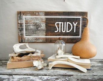 Study Sign. Clue Inspired. White, Black and Weathered Wood