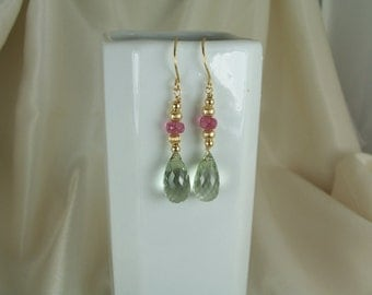 Green Amethyst 13mm briolette  and pink tourmaline gold filled earrings gemstone handmade MLMR item 700