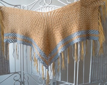 Vintage 70's crochet warm triangle Shawl with fringe  in two colors : mustard and light blue. True Vintage  Knited scraf, wrap, cape Groovy