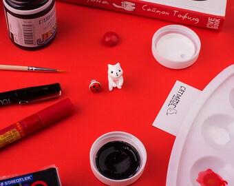 White Cat Earring | Ladybug stud | Handmade & Handpainted | Summertime Collection