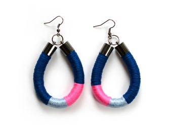 Blue Pink Rope Earrings, Colorful Thread Wrapped Earrings, Rope Jewelry, Dangle Fiber Earrings, Neon Pink Earrings