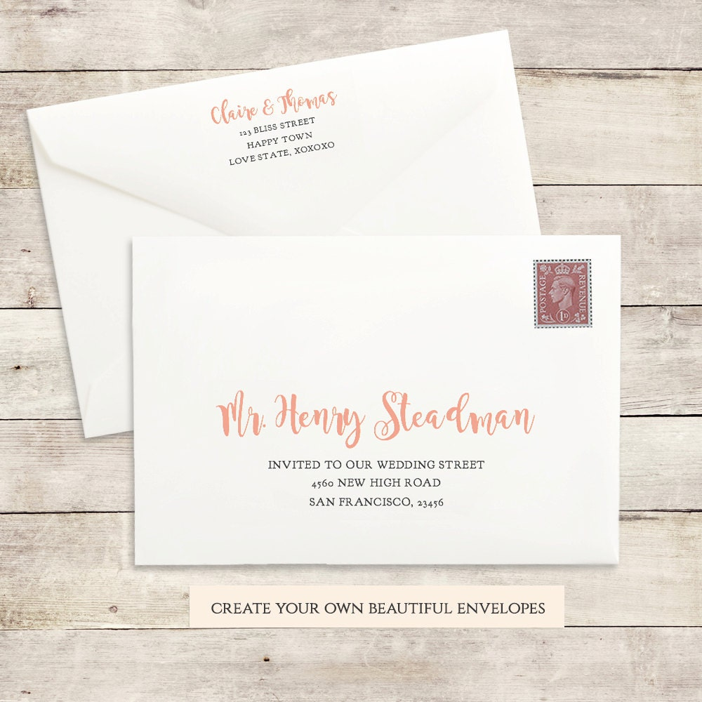 Printable Wedding Envelope Template, 5x7, Front And Back