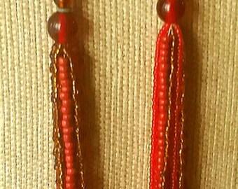 Vintage Bohemian Lucite Necklace Glass Necklace Multi-Strand Copper Indian Red Burnt Orange