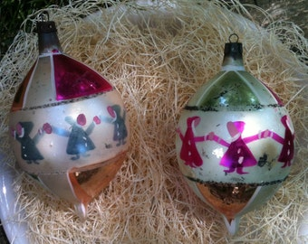 Blown glass ornament 2 Vintage Poland Christmas decorations gnomes elves pink silver Christmas tree Mid Century teardrop pointed