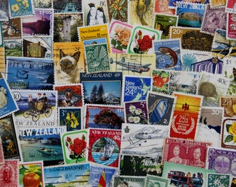 50 New Zealand Postage Stamps // Vintage & Modern Mixed Lot // Scrapbooking // Collage // Bullet Journal // Paper Craft Supply // Ephemera