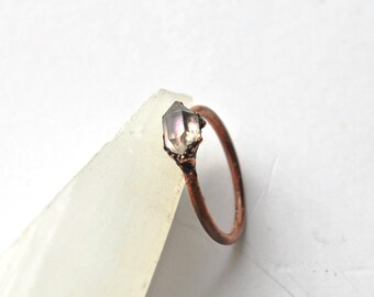 Organic Herkimer Diamond Ring, Raw Crystal Quartz Ring, Organic Natural Stone Jewelry, April Birthstone Ring