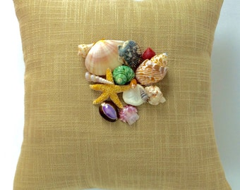 Seashell Pillow, Beachy Shell Pillow, Seashells Home Decor, Pillow with Real Shells, Beach Cottage Decor, Beach Home Decor,