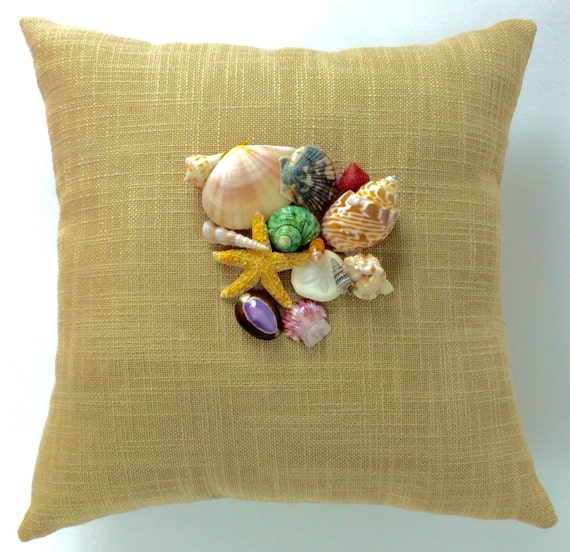Seashell Pillow Beachy Shell Pillow Seashells Home Decor
