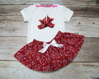 Cowgirl Outfit / Bandana Boots / Onesie or Shirt + Skirt / Red + White / Western / Infant / Baby / Girl / Toddler / Custom Boutique Clothing
