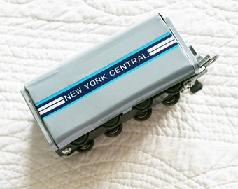 Vintage Cottage Home French Grey and Turquoise Blue New York Central Freight Train Car Toy, Olives and Doves