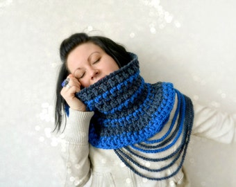 One of a kind design, UNIQUE Crochet Cowl, tube scarf, chunky neck warmer, wearable art shawl, chunky knitted snood, crochet chain scarf