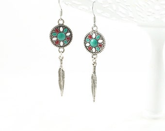 Silver Feather Earrings, Tribal Dangle Earrings, Turquoise Flower Earrings, Aztec Jewelry, Bohemian Jewelry, Teen Girl Gifts for Her