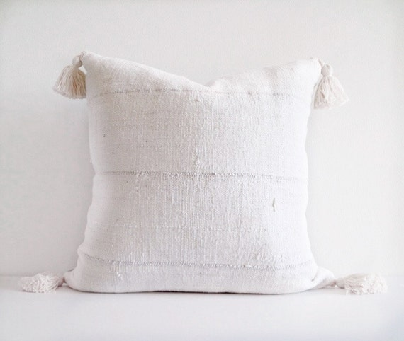 Authentic Natural Off White African Mudcloth Textile Pillow Cover With Natural Cotton Tassels Various Sizes
