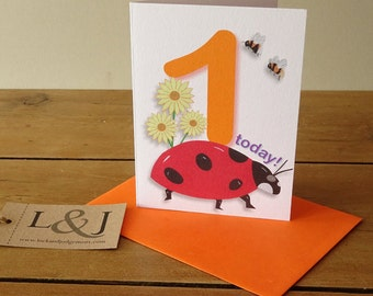 1st Birthday Card, Baby Birthday Card, 1st Birthday Gift, 1 Year Old, One Year Old, First Birthday, Birthday Card, 1 Today
