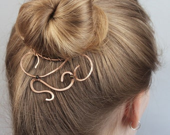 Messy Bun Holder, Unique Gift for Women, Abstract Copper Bun Cuff with Beads, Handmade Copper Wire Jewelry, Wire Wrapped Jewelry Handmade