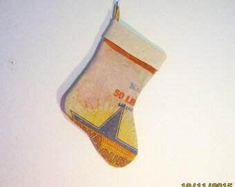 Grain sack Christmas Stocking