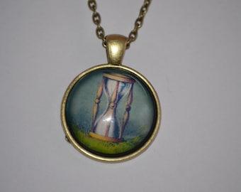 Hour Glass necklace, Hour Glass Dome Pendant, Hour Glass, Pendant, Glass Necklace, Hour Glass Pendant