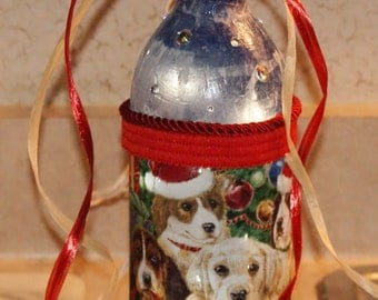 Christmas wine bottle with lights and dogs